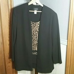 Vintage Virgo Blazer With Built-in Cheetah Blouse